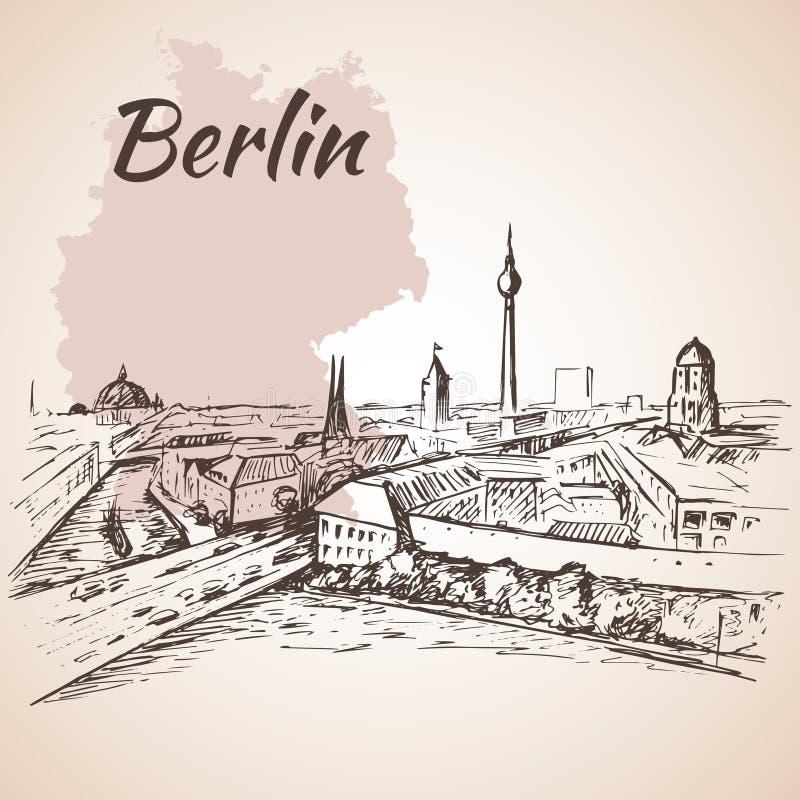 Cityscape van Berlijn met de kaart van Duitsland vector illustratie