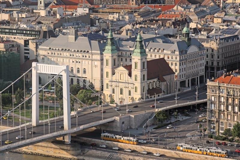 Cityscape van Boedapest met Elizabeth brug royalty-vrije stock foto