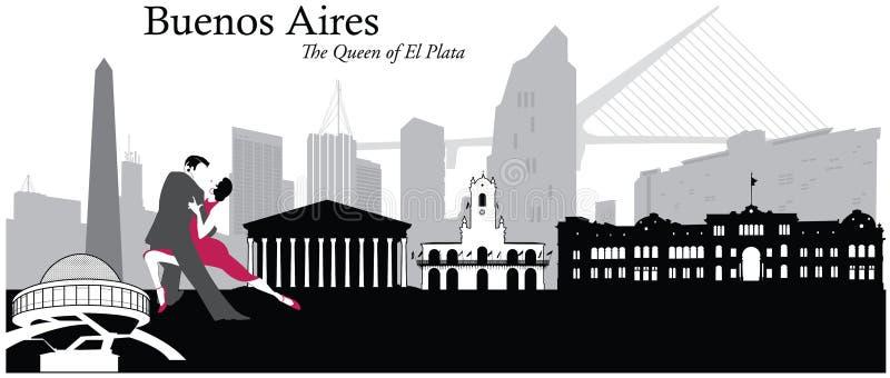 Cityscape van Buenos aires Horizonillustratie royalty-vrije illustratie