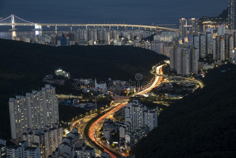 Cityscape van Busan royalty-vrije stock foto