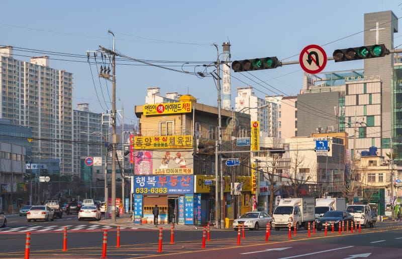 Cityscape van Busan, straatmening stock afbeelding