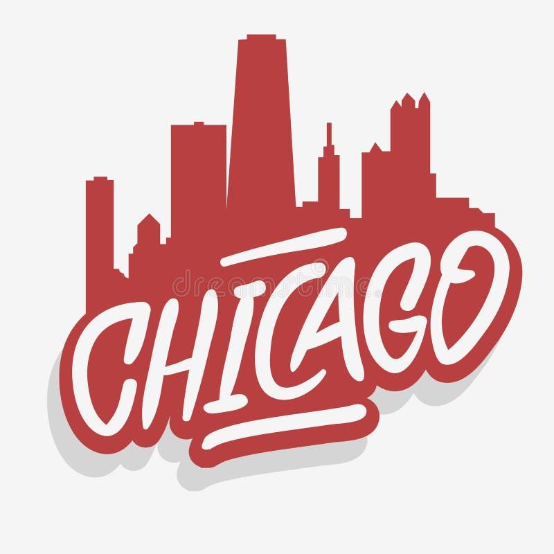 Cityscape van Chicago Illinois de V.S. Embleem van het het Etiketteken van de Stadshorizon het Stedelijke voor t-shirt of sticker stock illustratie