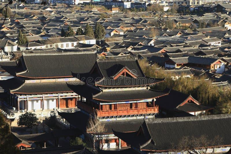 Cityscape van Chinese traditionele stad, Lijiang, Yunnan, China stock fotografie