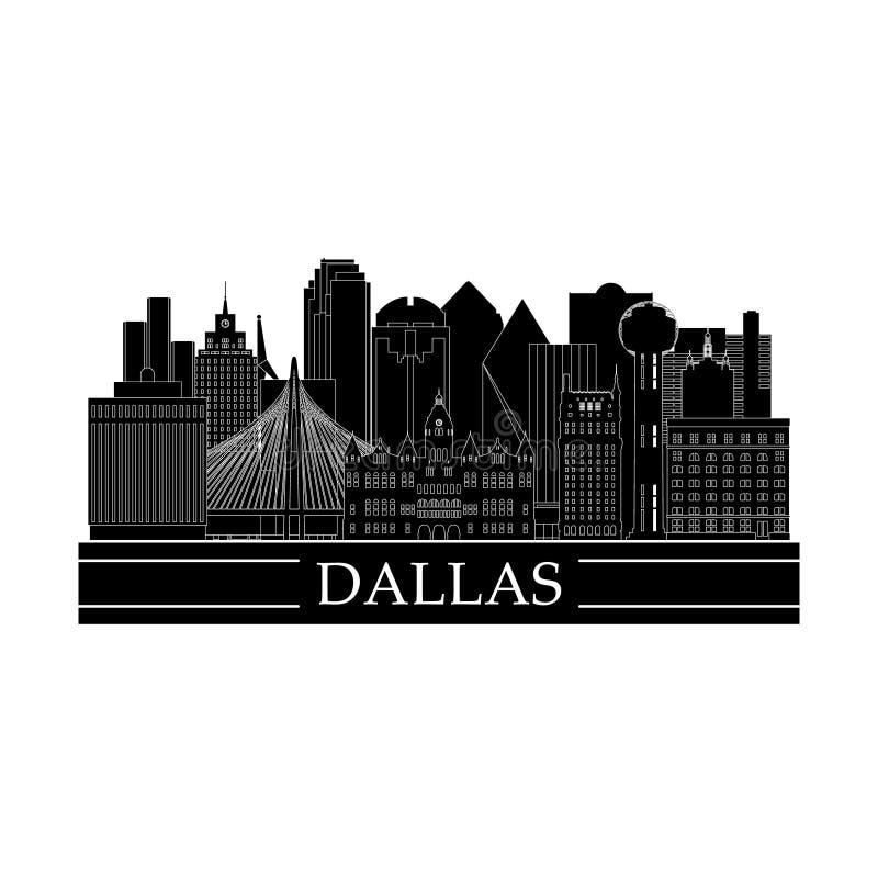 Cityscape van Dallas het ontwerp van de lijnkunst vector illustratie
