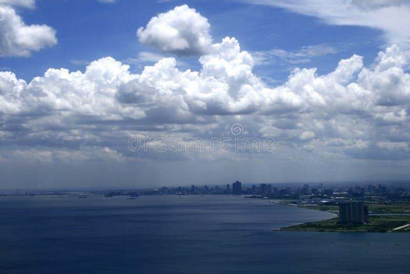 Cityscape van de Baai van Manilla stock afbeelding