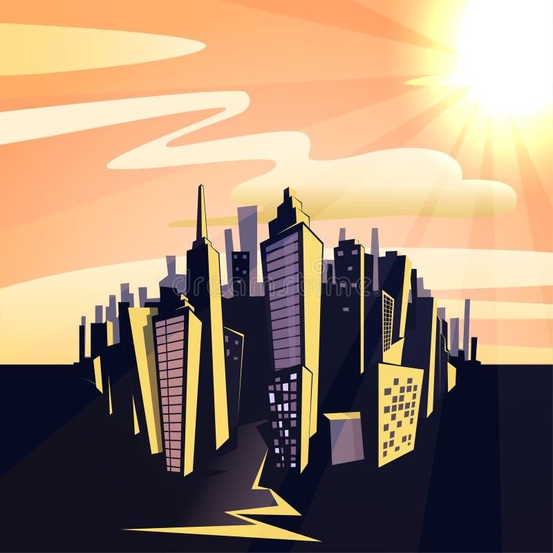 Cityscape van de beeldverhaalzonsondergang vector illustratie
