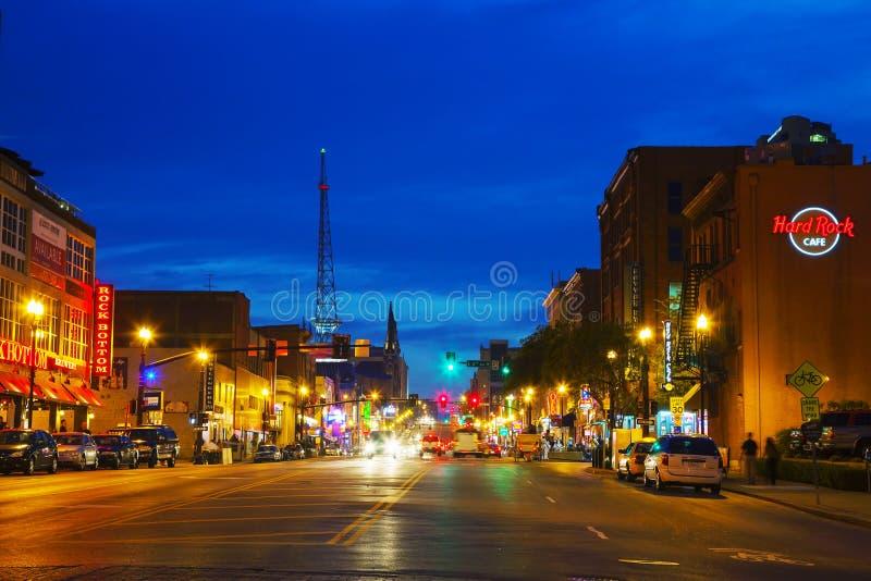Cityscape van de binnenstad van Nashville in de avond royalty-vrije stock foto