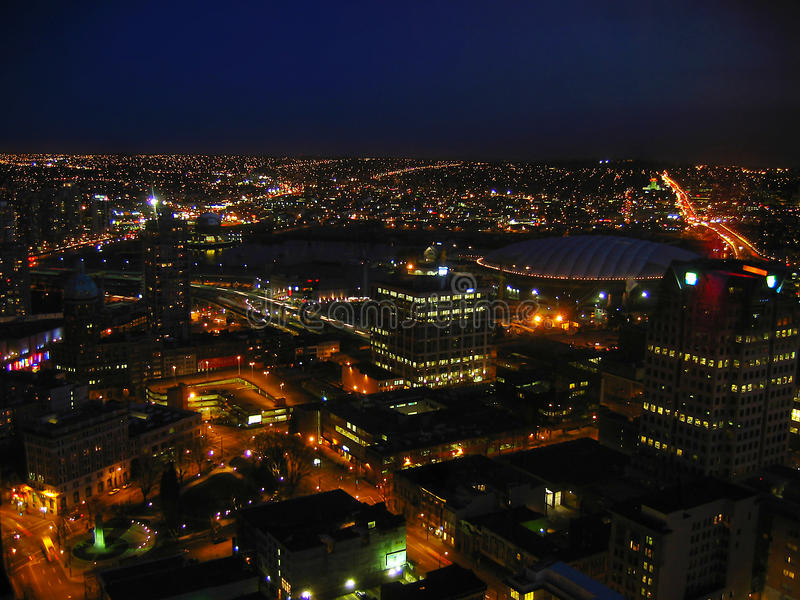 Nacht in Vancouver stock afbeeldingen