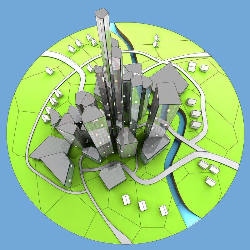 Cityscape van de duurzame ontwikkeling van het stadseiland stock foto