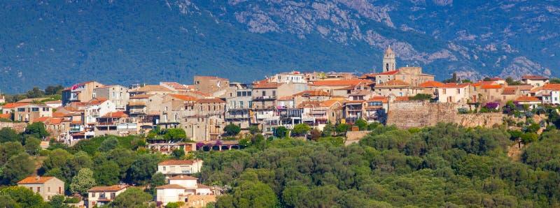 Cityscape van de Porto-Vecchiostad, Corsica stock fotografie
