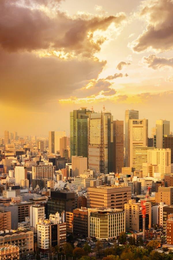 cityscape van de stadshorizon van Tokyo in Luchtmening met wolkenkrabber, royalty-vrije stock fotografie