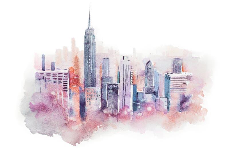 Cityscape van de waterverftekening grote stad de stad in, aquarelle het schilderen royalty-vrije illustratie