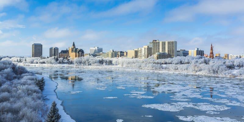 Cityscape van de winter stock foto's