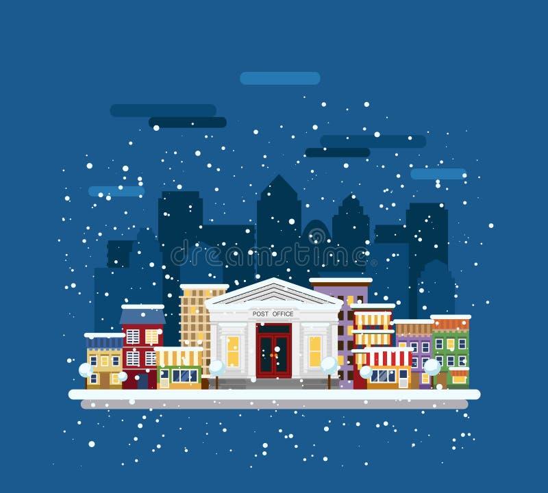 Download Cityscape van de winter vector illustratie. Illustratie bestaande uit flat - 54089127