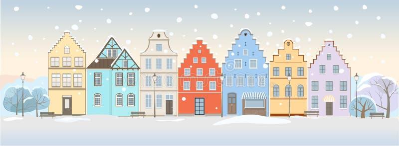 Cityscape van de winter vector illustratie