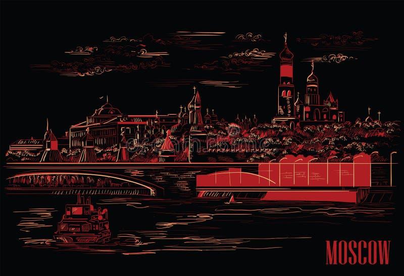 Cityscape van dijk van de torens en de brug van het Kremlin over de rivier Rood Vierkant van Moskou, Moskou, Rusland isoleerde ve stock illustratie