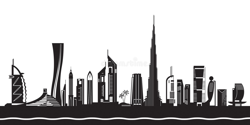 Cityscape van Doubai tegen dag vector illustratie