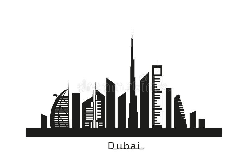 Cityscape van Doubai zwart silhouet royalty-vrije illustratie