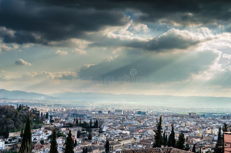 Cityscape van Granada, Spanje stock afbeelding