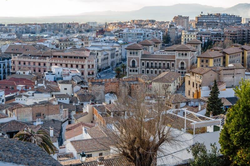 Cityscape van Granada, Spanje royalty-vrije stock foto's