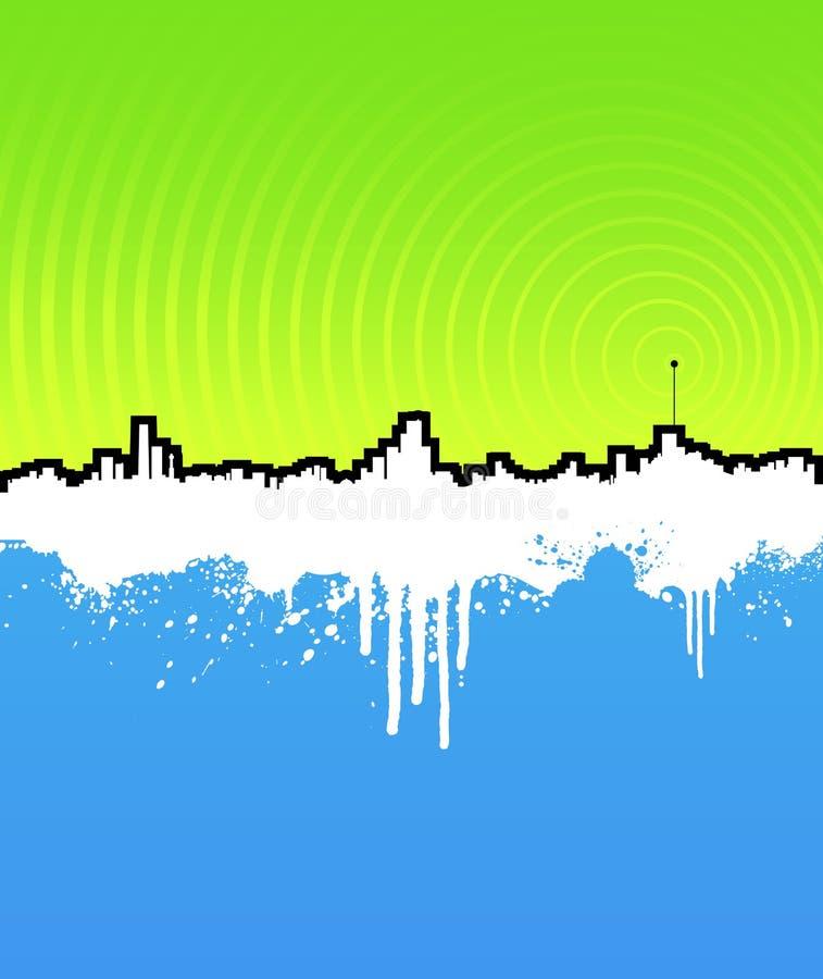 Cityscape van Grunge achtergrond met muziekantenne stock illustratie
