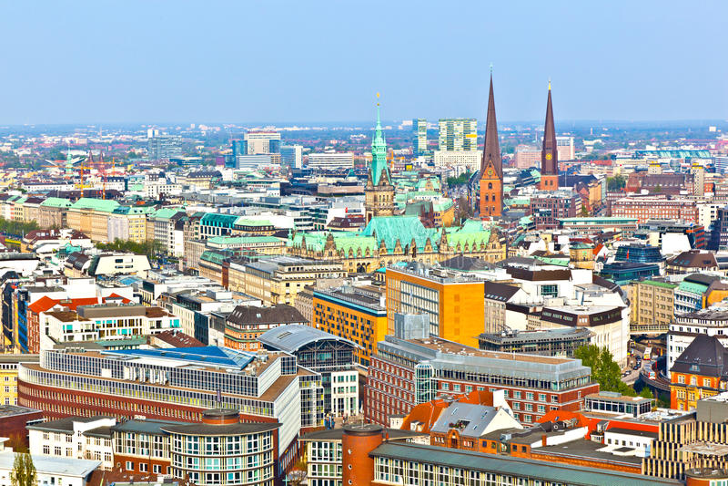 Cityscape van Hamburg van stock foto's