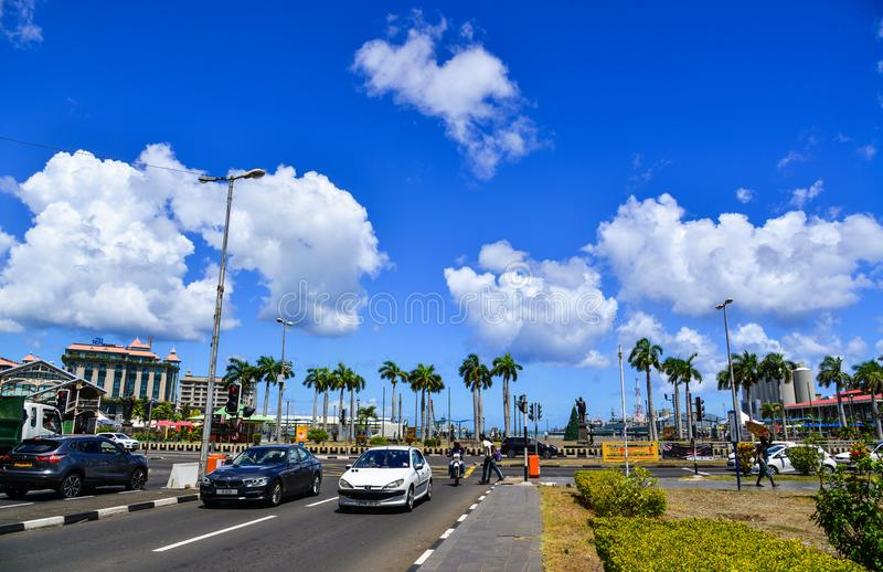 Cityscape van Haven Louis, hoofdstad van Mauritius stock foto