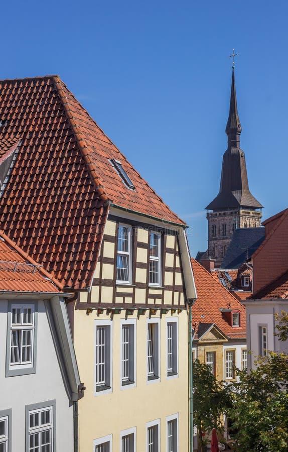 Cityscape van het historische centrum van Osnabrück stock fotografie