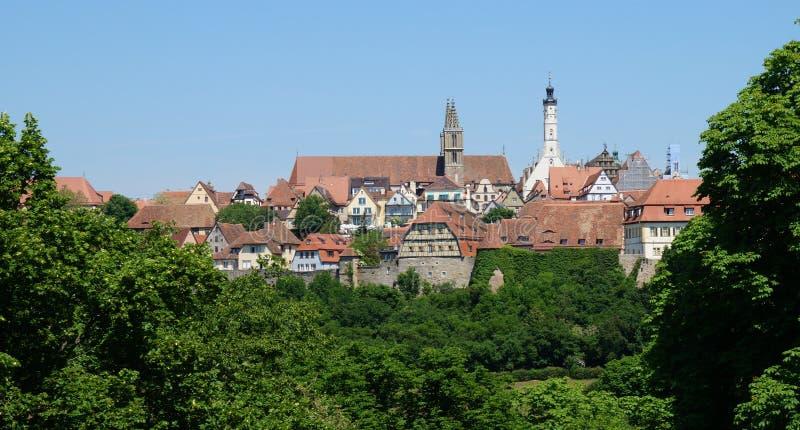 Cityscape van het historische middeleeuwse centrum van Rothenburg ob der Tauber stock afbeelding