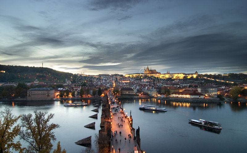 Cityscape van het Kasteel van Praag stock foto