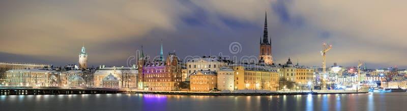 Cityscape van het panorama van Gamla Stan Stockholm Zweden royalty-vrije stock foto