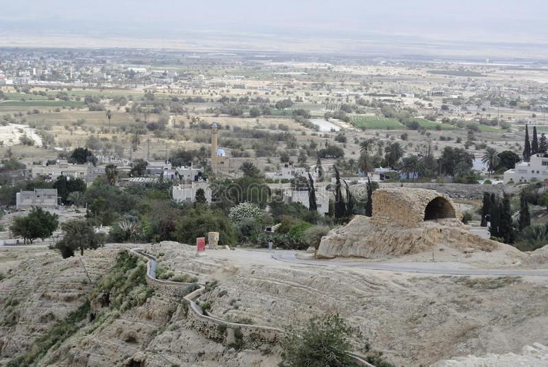 Cityscape van Jericho van Judea-woestijn. stock afbeelding