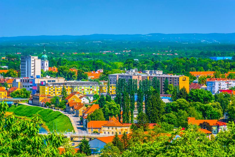 Cityscape van Karlovac, Kroatië royalty-vrije stock foto