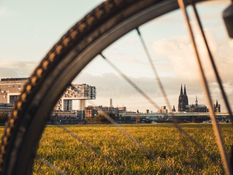 Cityscape van Keulen met de Kathedraal, Rheinauhafen en de Kraan van Keulen royalty-vrije stock fotografie