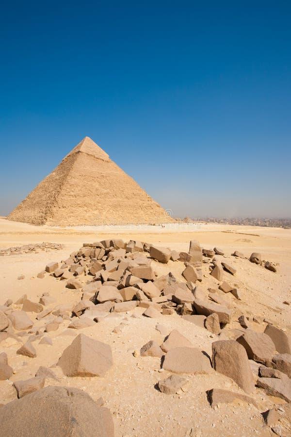 Cityscape van Khafre Kaïro van de piramide de Verticaal van Keien royalty-vrije stock fotografie