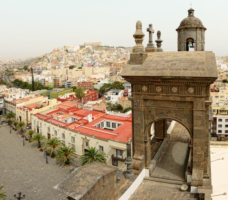 Cityscape van Las Palmas de Gran Canaria bij Canarische Eilanden Satellietbeeld vanaf dakbovenkant royalty-vrije stock foto
