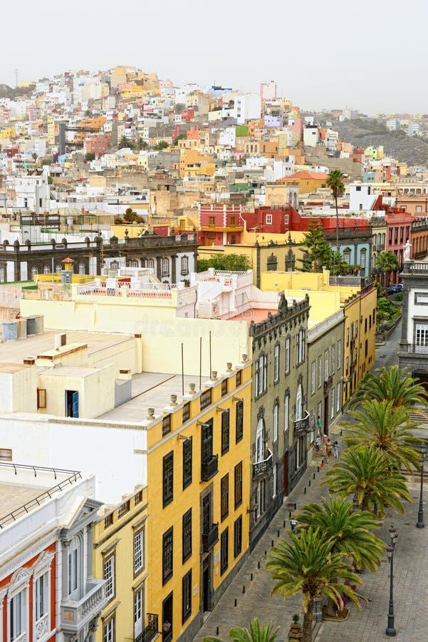 Cityscape van Las Palmas de Gran Canaria bij Canarische Eilanden Satellietbeeld vanaf dakbovenkant stock afbeelding