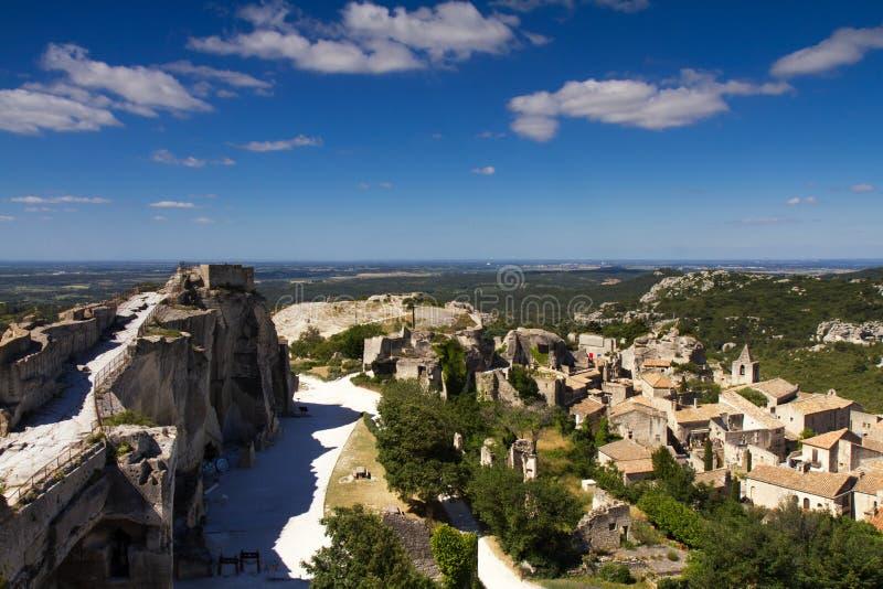 Cityscape van Les Baux DE de Provence stock afbeelding