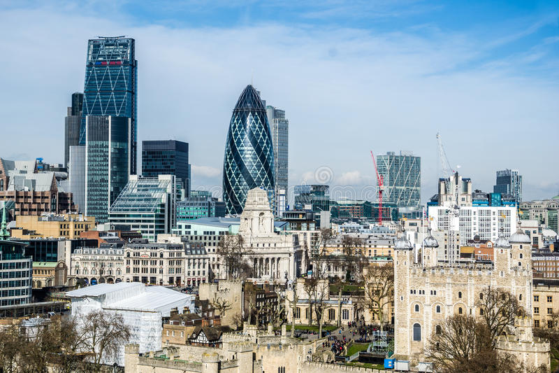 Cityscape van Londen met inbegrip van Gherki royalty-vrije stock afbeelding