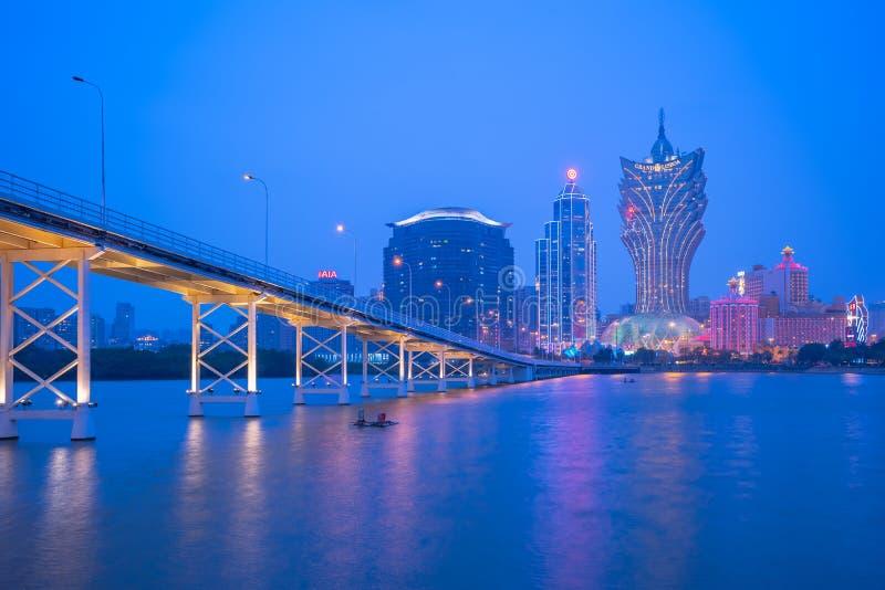 Cityscape van Macao horizon bij nacht in China royalty-vrije stock foto's