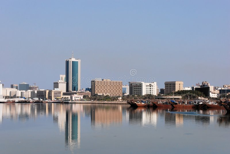 Cityscape van Manama stock afbeelding