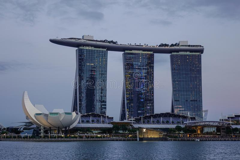 Cityscape van Marina Bay in Singapore stock afbeeldingen