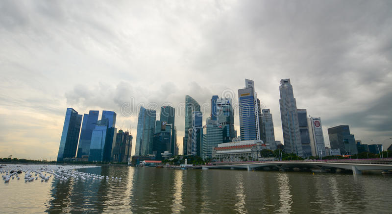 Cityscape van Marina Bay in Singapore stock afbeelding