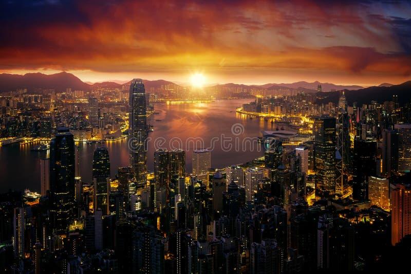 Cityscape van van Marning de zonsopgang en van Hongkong pe van stads fron Victoria stock fotografie