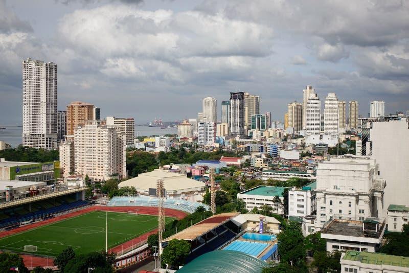 Cityscape van Metro Manilla in Filippijnen stock foto