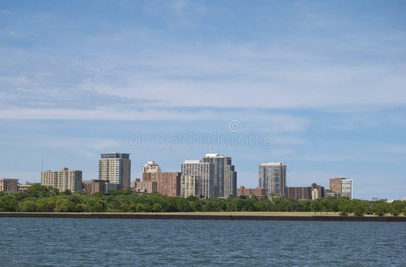 Cityscape van Millwaukee, Wisconsin stock foto's