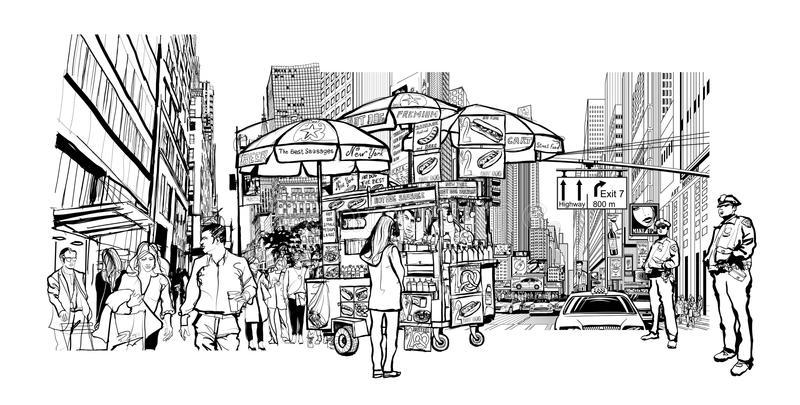 Cityscape van New York stock illustratie