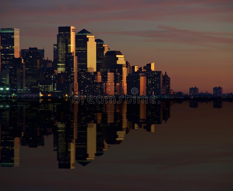 Cityscape van New York horizon bij nacht, nyc, de V.S. stock fotografie