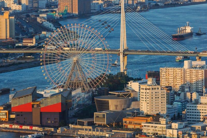 Cityscape van Osaka Bay royalty-vrije stock foto