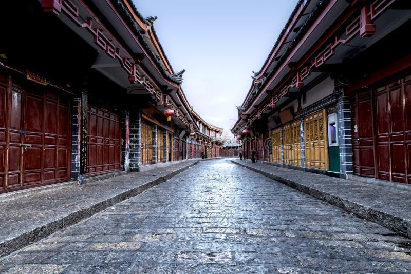 Cityscape van Oude Lijiang-straat, Yunnan, China stock afbeeldingen